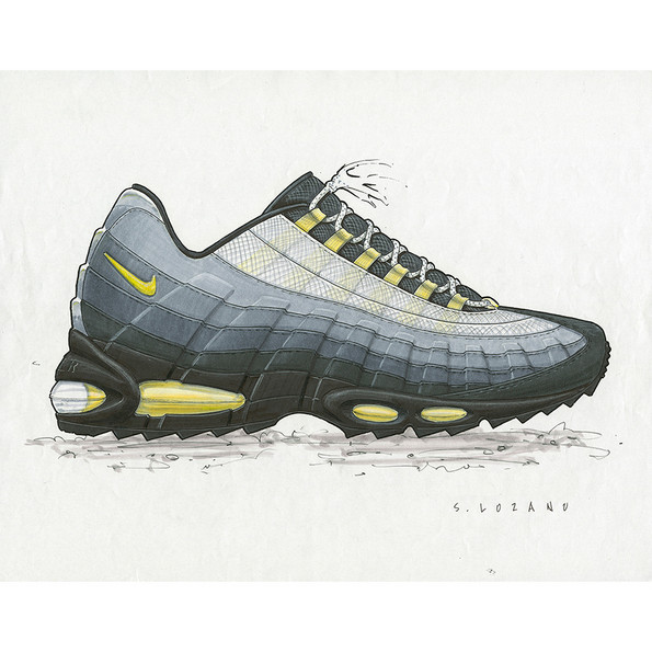 Sergio Lozano for Nike, Air Max 95, Originalskizze, 1995 © Nike