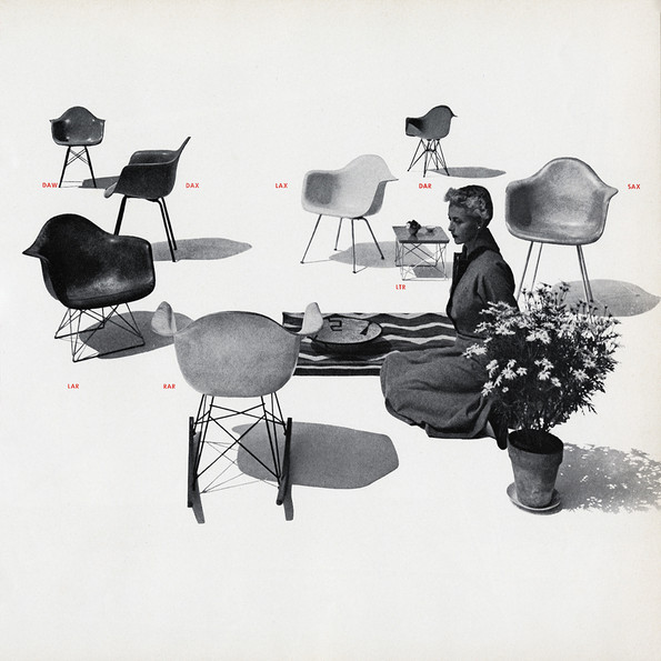 Display of Eames Plastic Armchair models, Herman Miller catalogue, 1952 © Herman Miller Archives
