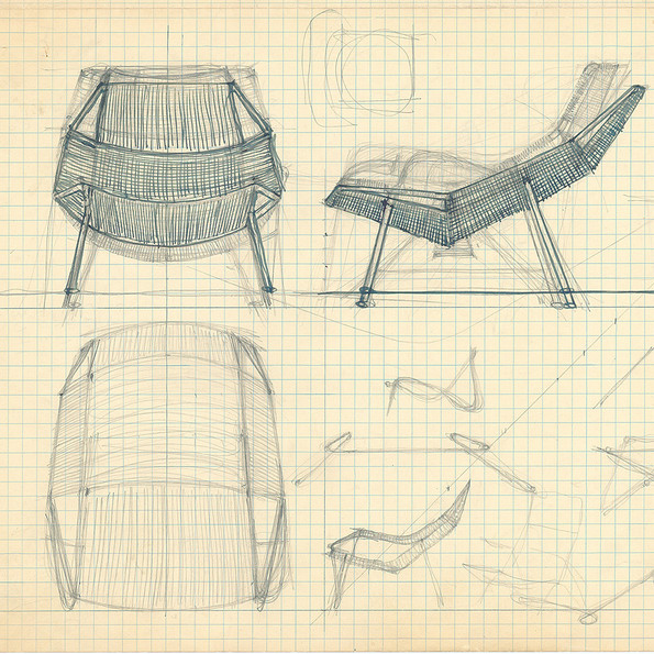 Design sketches for the Flag Halyard Chair © Hans J Wegners Tegnestue