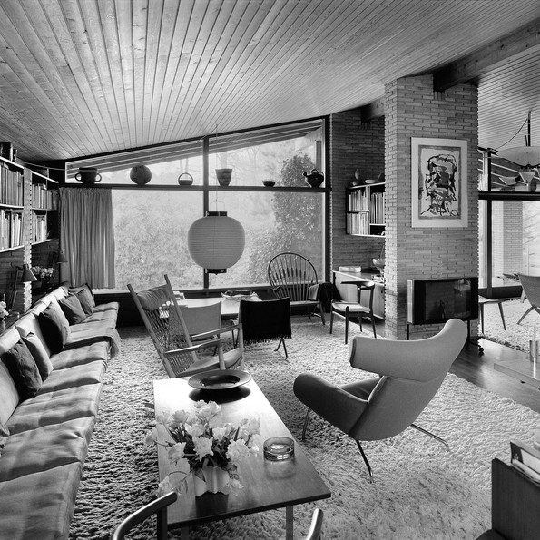 Wegner's house in Tinglevvej, view from his desk into the living room © Hans J Wegners Tegnestue