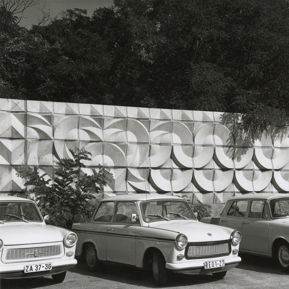 Trabis (Trabant cars) in front of cinder-block wall at Tierpark, Ostberlin by Karl-Heinz Adler and Friedrich Kracht, 1976, Archive Friedrich Kracht, courtesy of Karin Kracht