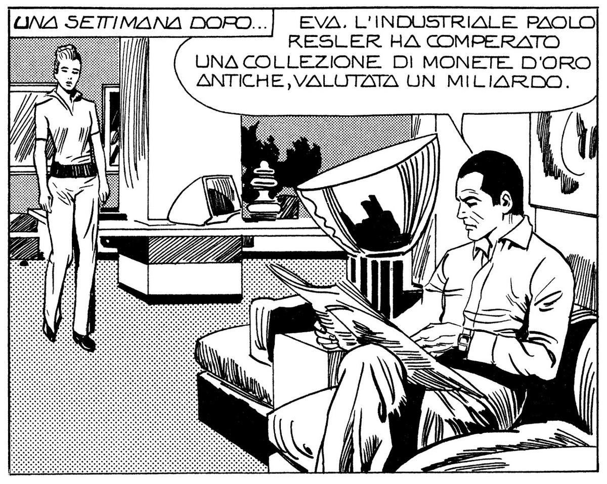 Angela und Luciana Giussani, Sergio Zaniboni und Saverio Micheloni, Diabolik (Ausschnitt), 1974 © Astorina srl