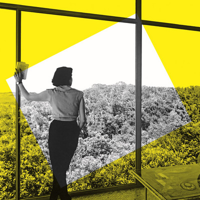 Key Visual for the exhibition »Home Stories«, Illustration: Daniel Streat, Visual Fields, © Vitra Design Museum; Lina Bo Bardi, Casa de Vidro, São Paulo, 1952, © Instituto Bardi / photo: Francisco Albuquerque