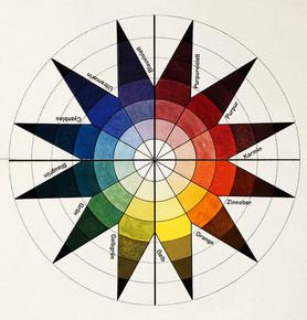 Johannes Itten, colour wheel in 7 shades und 12 tones, colour plate in: Bruno Adler, »Utopia. Dokumente der Wirklichkeit«, Weimar 1921. Lithography, 47,4 × 32,2 cm, Collection Vitra Design Museum, © VG Bild-Kunst Bonn, 2020