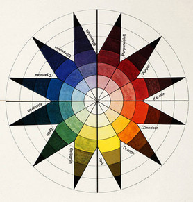 Johannes Itten, colour wheel in 7 shades und 12 tones, colour plate in: Bruno Adler, »Utopia. Dokumente der Wirklichkeit«, Weimar 1921. Lithography, 47,4 × 32,2 cm, Collection Vitra Design Museum, © VG Bild-Kunst Bonn, 2020