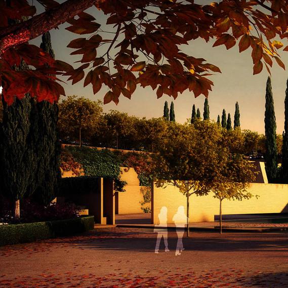 Render 2 – Alhambra Atrium, Eingangsplatz (Zypressenpfad Südwest) / Entrance Square (Southwest Cypress Path) © Álvaro Siza Vieira + Juan Domingo Santos, 3D Rendering - LT STUDIOS