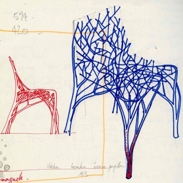 Patrick Jouin iD, Entwurfsskizze für Solid C2, Filzstift auf Papier, 2004 © Patrick Jouin iD