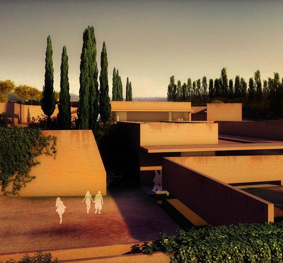 Alhambra Atrium, Efeu Innenhof (Nordwestansicht) / Ivy Courtyard (Northwest Landscape View) © Álvaro Siza Vieira + Juan Domingo Santos, 3D Rendering - LT STUDIOS