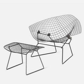 Harry Bertoia, Large Diamond Chair and Ottoman, 1952/53, © photo: Vitra Design Museum (MUS-1001), photographer: Jürgen Hans/objektfotograf.ch