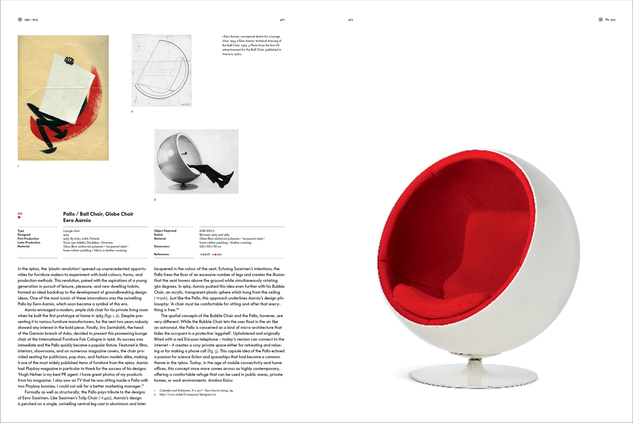 Example page (objects) from »Atlas of Furniture Design« © Vitra Design Museum, Graphic: Kobi Benezri Studio