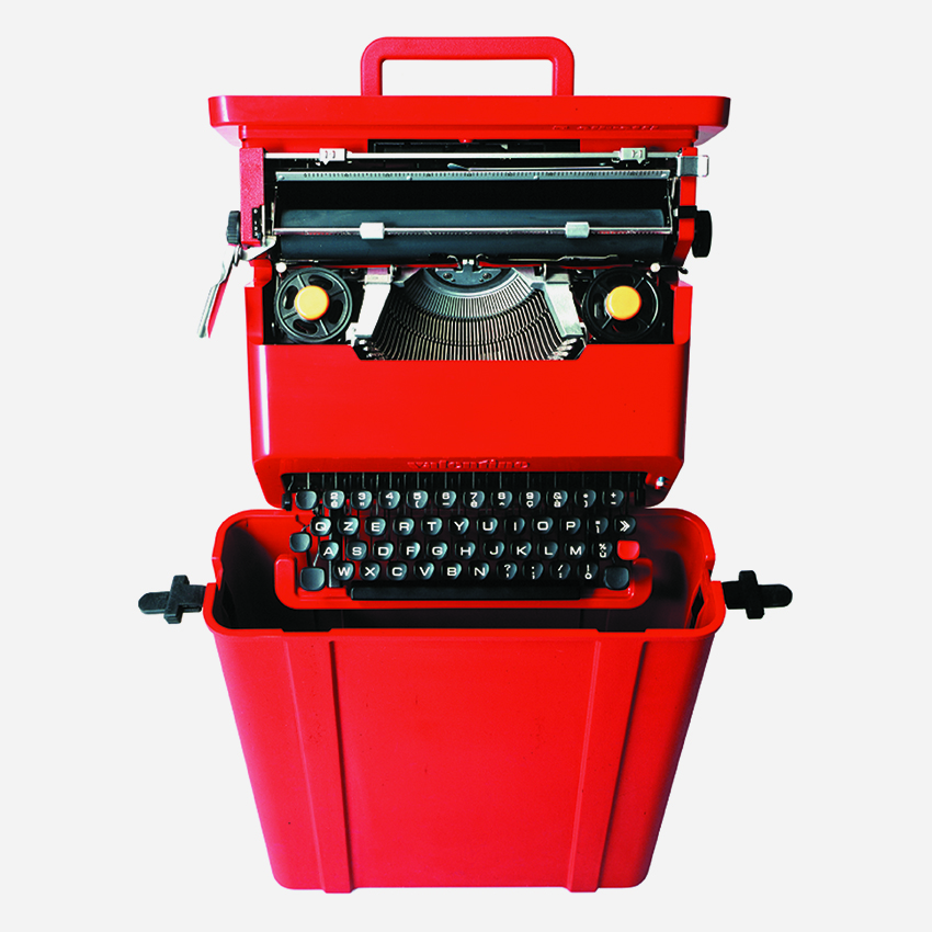 Valentine, Typewriter, Ettore Sottsass and Perry A. King, 1969, Manufacturer: Olivetti, © VG Bild-Kunst, Bonn 2020, Photo: Alberto Fioravanti, Courtesy: Studio Ettore Sottsass