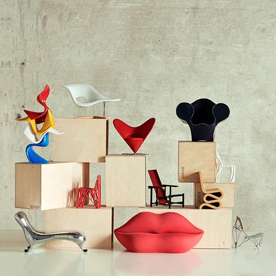 Verner Panton, Charles und Ray Eames, Ron Arad, Patrick Jouin, Frank Gehry, Marc Newson, Studio 65, Joris Laarman © Vitra Design Museum, Foto: Nacho Alegre, 2018